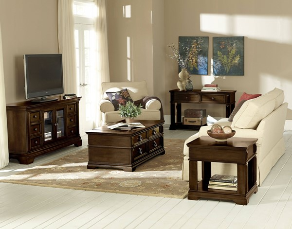 Charleston Traditional Tobacco Brown Wood Coffee Table Set std-2893-OCT