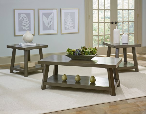 Omaha Contemporary Grey Brown Solid Wood Rectangle 3 In 1 Pack STD-28983
