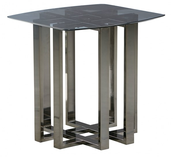 Hashtag Black Chrome Metal Glass End Table std-29202-ET