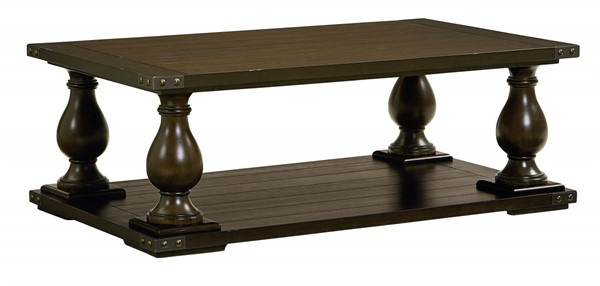 Pierwood Traditional Brown Wood Rectangle Cocktail Table STD-29251