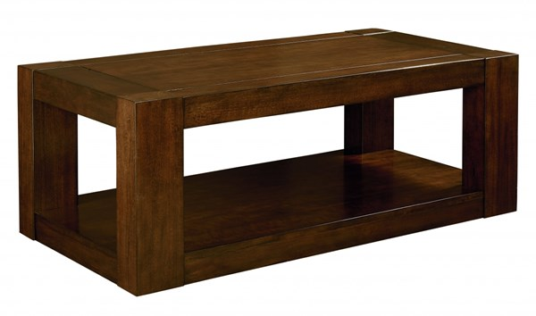 Franklin Contemporary Brown Cherry Solid Wood Rectangle Cocktail Table STD-29361
