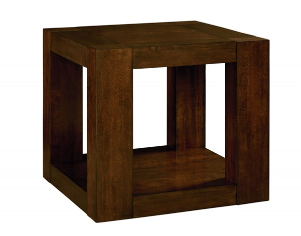 Franklin Contemporary Brown Cherry Solid Wood Square End