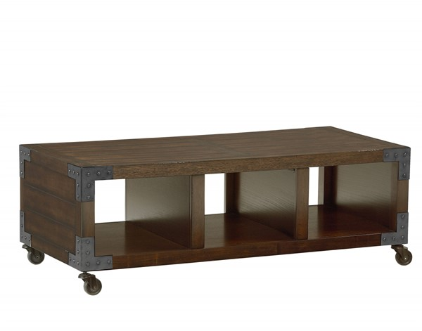 Sullivan Contemporary Brown Oak Wood Metal Cocktail Table STD-29781