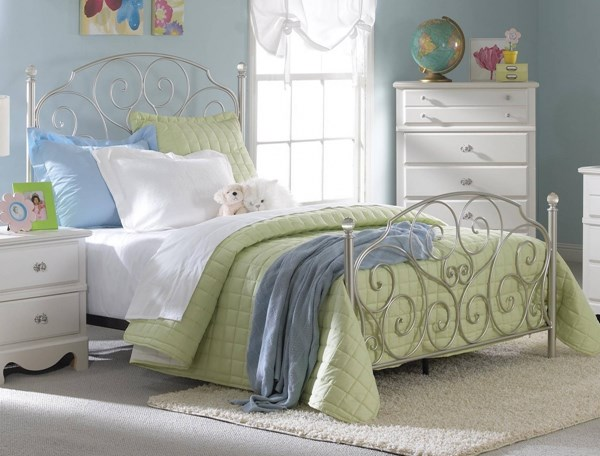 Spring Rose Nickel Metal Full Bed std-502-FB