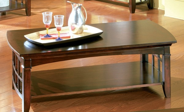 Glasgow Contemporary Dark Cherry Wood Rectangle Cocktail Table STD-50311