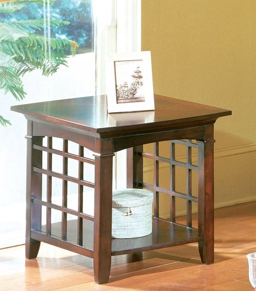 Glasgow Contemporary Dark Chocolate Cherry Wood End Table STD-50312