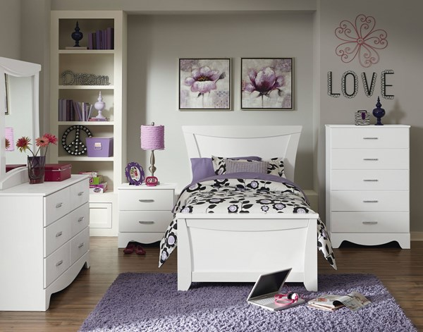 Vogue Modern White Wood 4pc Bedroom Set w/Twin Panel Bed std-50700-BR-S1
