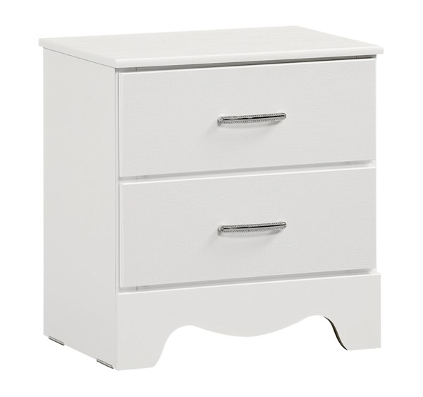 Vogue Modern White Wood 2 Drawers Nightstand STD-50707