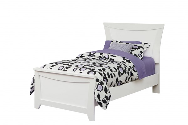 Vogue Modern Glossy White Wood Full Panel Bed std-50700-FBED