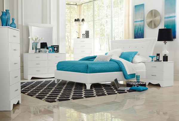 Vogue Modern White PU Wood 5pc Bedroom Set w/Queen Uphosltery Bed std-50700-BR-S3