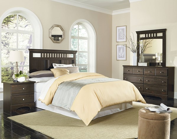 Hampton Coffee Brown Wood 2pc Bedroom Set W/King Headboard std-52050-BR-S3