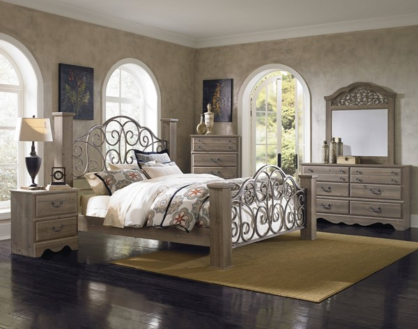 Timber Creek Traditional Grey Wood Glass 2pc Bedroom Sets std-52652-BR-VAR