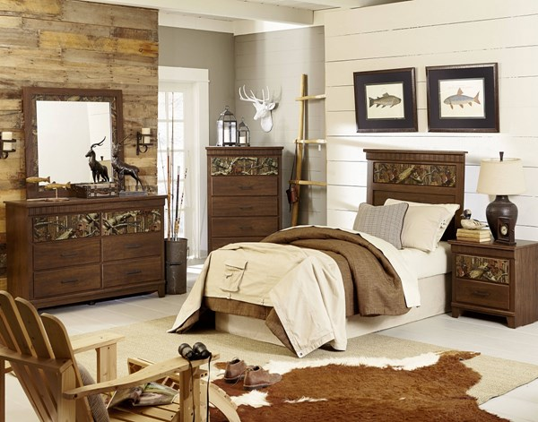 Solitude Transitional Brown Cherry Wood 2pc Bedroom Set W/Twin Bed std-529-BR-S3