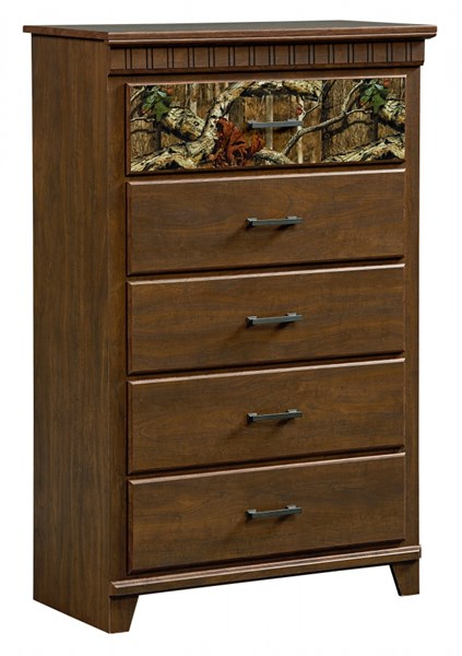 Solitude Transitional Brown Cherry Wood 5 Drawers Chest STD-52955