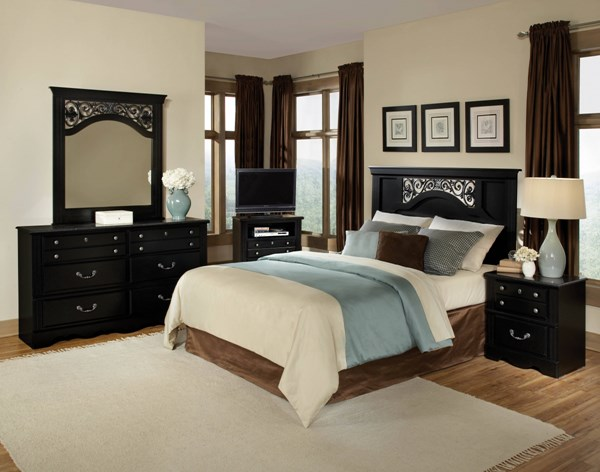 Madera Modern Black Wood 5pc Bedroom Set w/Full/Queen Panel Headboard std-545-BR-S3