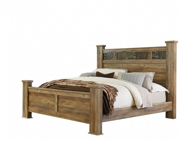 Habitat Rustic Mossy Oak Wood King Poster Bed std-55450-KBED