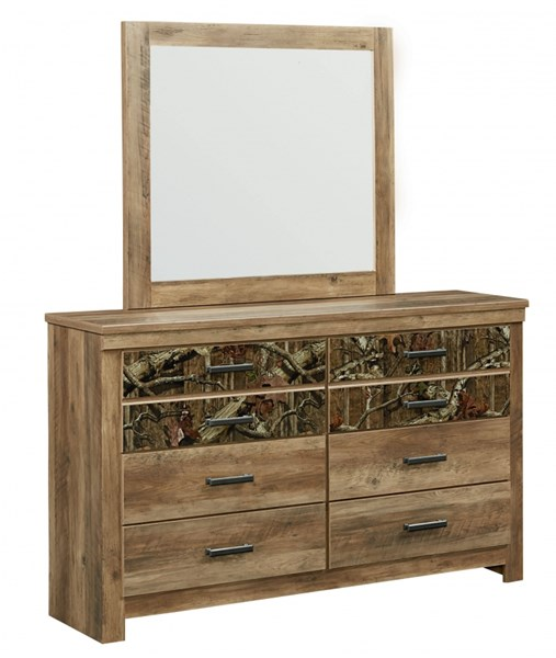 Habitat Rustic Mossy Oak Wood Glass Dresser & Mirror std-55450-DRMR