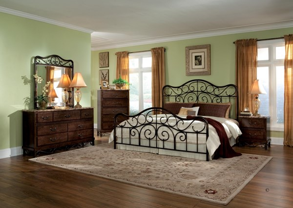 Santa Cruz Brown Cherry Wood Metal Master Bedroom Set std-562-BR