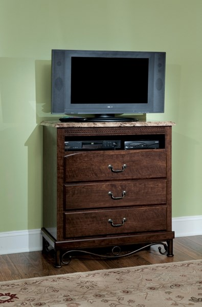 Santa Cruz Brown Cherry Wood TV Chest w/Marbella Top STD-56206