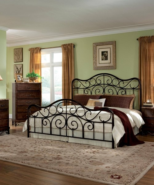 Santa Cruz Brown Cherry Wood King Metal Head/Footboard STD-56226