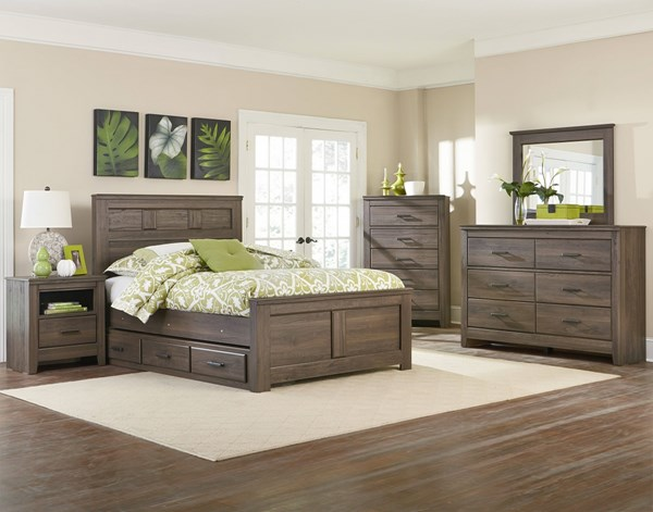 Hayward Dark Brown Wood 4pc Bedroom Set w/Full Panel Storage Bed std-56500-BR-S3