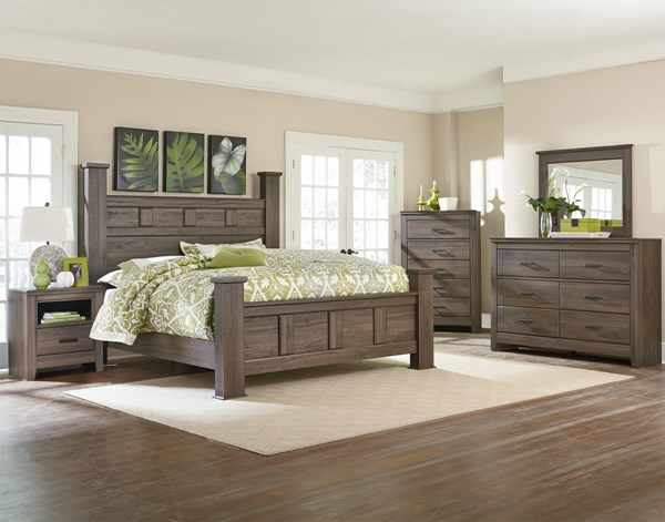 Hayward Dark Brown Wood 2pc Bedroom Set W/King Poster Panel Bed std-56500-BR-S5