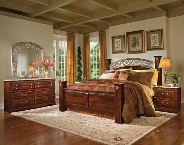 Triomphe Cherry Wood 5pc Bedroom Set w/King Poster Bed std-57200-BR-S2