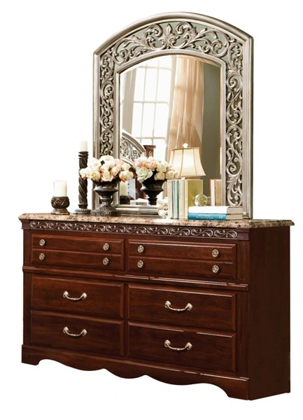 Triomphe Cherry Wood Faux Marble 6 Drawers Dresser STD-57209