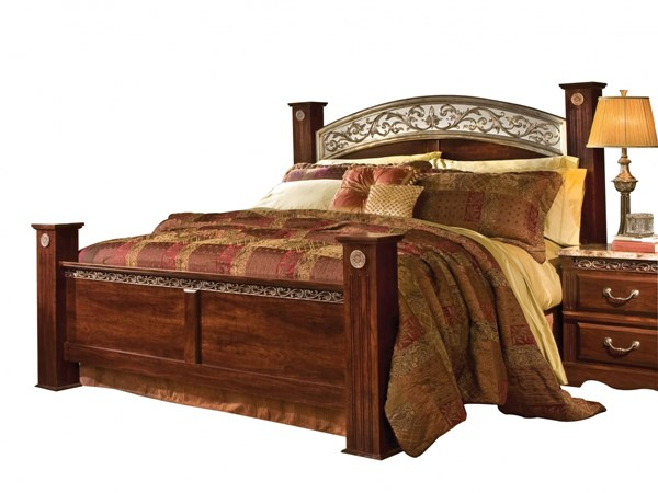 Triomphe Brown Cherry Wood Metal King Poster Bed std-57216-B