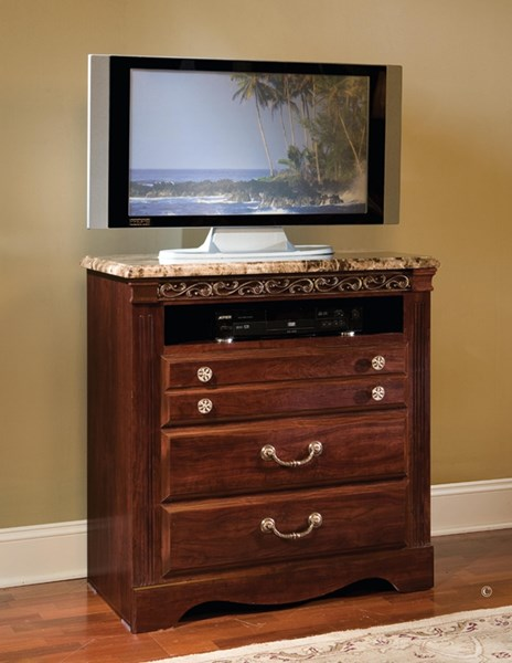 Triomphe Cherry Wood Faux Marble TV Chest STD-57206