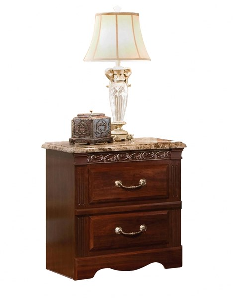Triomphe Cherry Wood Faux Marble Nightstand STD-57207