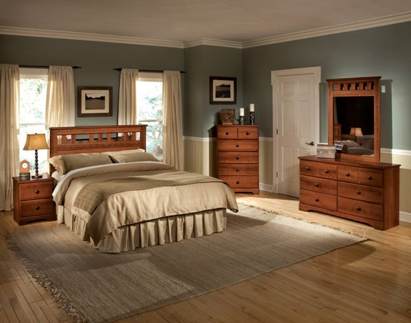 Orchard Park Brown Wood 2pc Bedroom Set W/Full/Queen Panel Headboard std-587-BR-S1