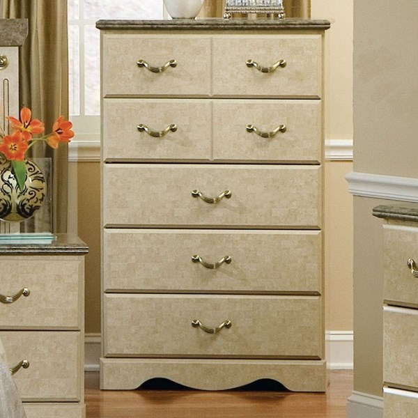 Florence Old World Wood Marble Handle 5 Drawer Chest STD-59505