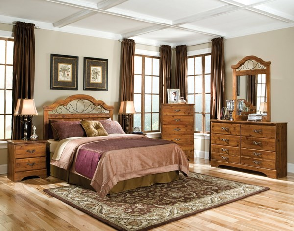 Hester Heights Natural Wood 5pc Bedroom Set w/Full/Queen Headboard std-61150-BR-S1
