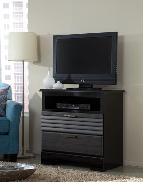Reaction Modern Black Grey Wood TV Chest std-67856