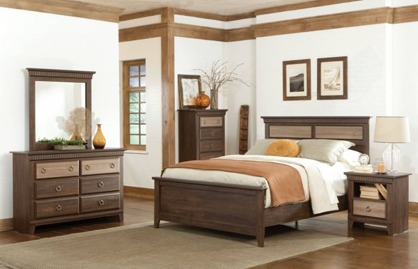 Weatherly Brown Cherry Wood 4pc Bedroom Set w/Twin Bed std-681-BR-S3