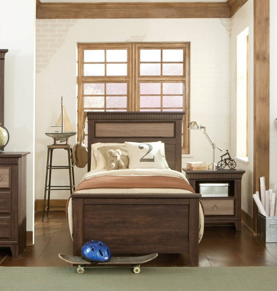 Weatherly Transitional Brown Cherry Wood Twin Panel Bed std-681-TBED