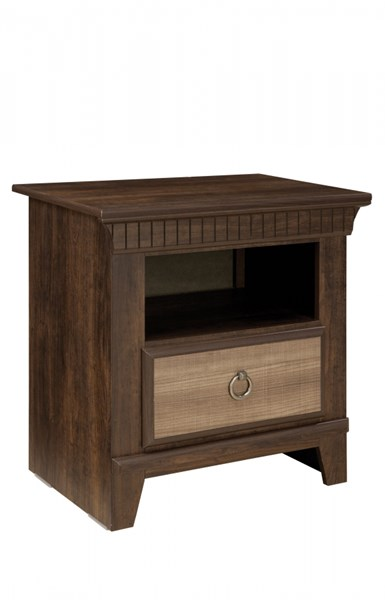 Weatherly Transitional Brown Cherry Wood Nightstand STD-68157