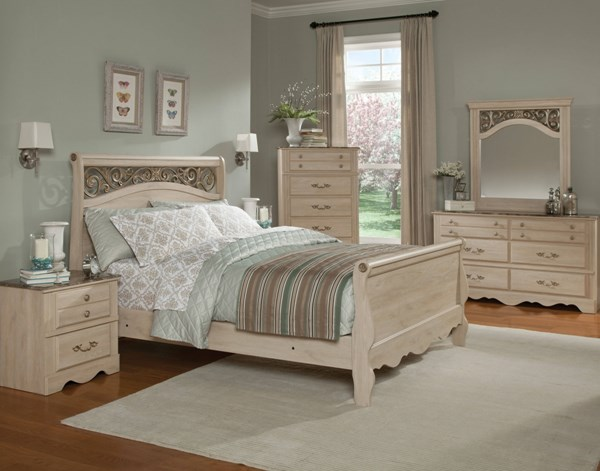 Torina Traditional Cream Wood 5pc Bedroom Sets std-688-BR-S