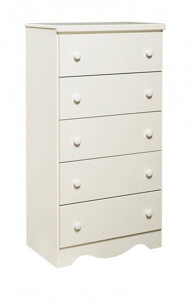 Factory Select Versatile Heritage White Wood 5 Drawers Chest std-68975