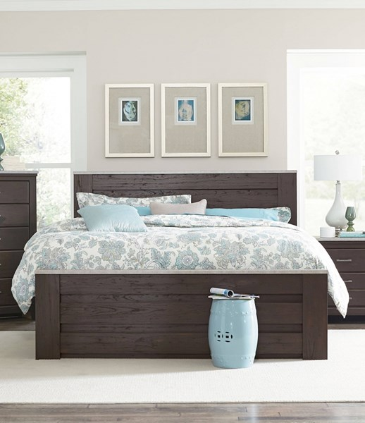 Stonehill Dark Transitional Brown Pecan Wood Full/Queen Mansion Bed std-693-FQBED