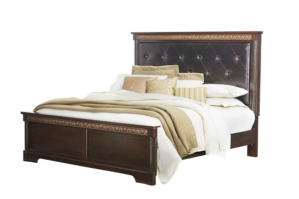 Venetian Traditional Black Brown PU Wood Tufted Panel Beds std-69300-BED-VAR