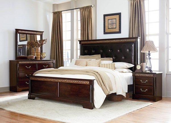 Venetian Traditional Brown Wood PU 2pc Bedroom Sets W/Panel Bed std-69300-BR-VAR