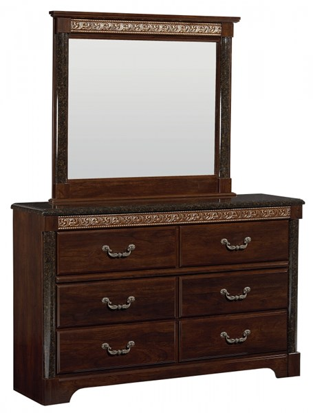 Venetian Traditional Brown Wood Glass Dresser & Mirror std-69300-DRMR