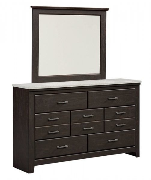 Stonehill Dark Transitional Brown Pecan Wood Glass Dresser & Mirror std-69359-DRMR