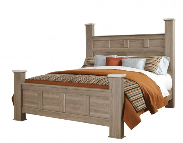 Stonehill Transitional Oak Wood King Panel Poster Bed Rails STD-69420