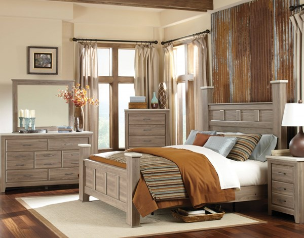 Stonehill Transitional Oak Wood 2pc Bedroom Set W/Queen Poster Bed std-694-BR-S1