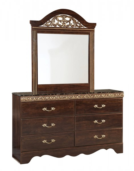 Odessa Traditional Brown Cherry Wood Handle 6 Drawer Dresser STD-69509