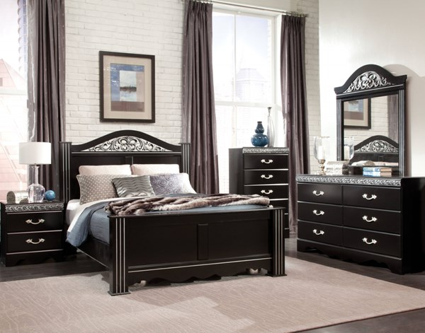 Odessa Traditional Black Wood 5pc Bedroom Set w/King Poster Bed std-695-BL-KPOSTB-S4