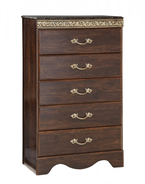 Odessa Traditional Brown Cherry Black Wood 5 Drawers Chests std-695-CH-VAR